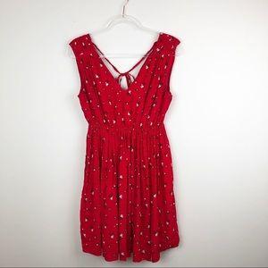 Madewell Magnolia Tie-Back Red Floral Dress Medium